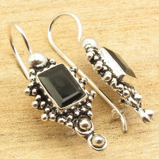 Original BLACK ONYX Gemstone !! 925 Silver Plated HANDMADE Earrings 1 1/4 Inches