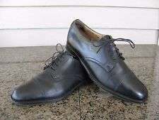 Bruno Magli Sz 8 M Black Leather Cap Toe Lace Up Men's Shoes Made In Italy
