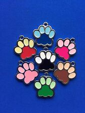 Pets Dogs Cats ID PAW SHAPE TAG Free ENGRAVED Name Telephone Mobile Number