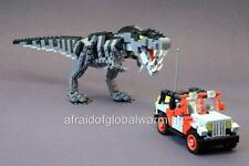 Photo. Toy Lego T Rex Dinosaur Chasing Jeep