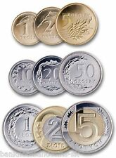 POLAND FULL SET 1+2+5+10+20+50 Groszy +1+2+5 Zlotych 2015 UNC W/ NEW 1+2+5 Gr. 9