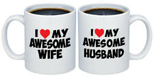 I Love my Awesome Wife - Husband with Red Heart Valentines Gifts for Couples Mug