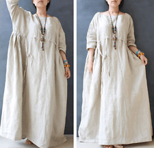 Last3 Casual Maxi Oversize Large Loose Skirt 100% Linen Women Long Dress On Sale