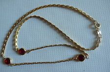 Ancien collier en plaqué or 18 k poinçonné et cristal de verre