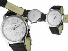 DIAMOND EFFECT WATCH WITH LEATHER STRAP STERLING SILVER 925 FROM ARI D NORMAN