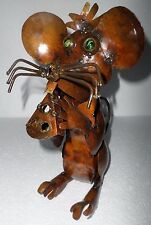 Mexican Folk Art Recycled Metal Rustic Yard Garden Mouse Swiss Cheese Sculpture