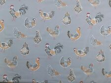 Clarke & clarke rooster taupe poulet poulets rideau soft furnishing tissu