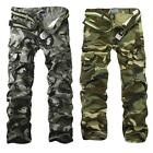 Men Casual Military Army Cargo Camo Combat Work Pants Trousers Gray Size 29-38