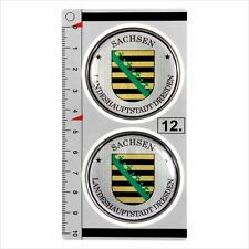 Sachsen​​​ set of 2 German Number Plate Seal Stadt 3D Domed resin Sticker badge