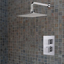 Square Chrome Concealed Thermostatic Twin Head Mixer Shower Valve Sets