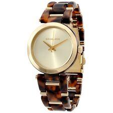 MICHAEL KORS Delray Tortoise Gold Tone Bracelet Link Watch  MK4314   NEW