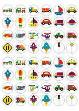 48 Edible Transport Wafer Rice Mini Cupcake Toppers Fairy Cake Bun Topper