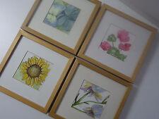 4 Aquarell Bilder Floral Blumen im Rahmen von Ikea Größe 25,5x25,5 cm Original