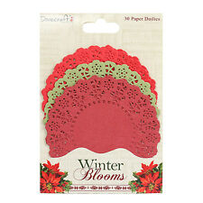 30 WINTER BLOOMS PAPER LACE CHRISTMAS DOILIES CARD MAKING CRAFT EMBELLISHMENTS