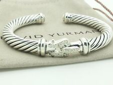 David Yurman Sterling Silve Cable Classic Buckle Cuff 7mm Bracelet with Diamonds