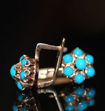 Original Vintage Russian Turquoise Cluster Buttercup Setting Earrings 14k/583