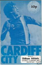 CARDIFF CITY V OLDHAM ATHLETIC   2ND DIVISION  12/2/77