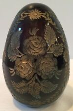 VTG Russian Imperial Rose Cut Crystal Dark Ruby Red Faberge Art Glass Egg