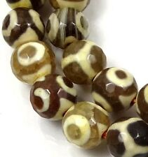 8mm Tibetan Old Agate Dzi Round Beads 15""
