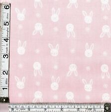 PATCHWORK/ CRAFT FABRIC FAT QTR LEWIS & IRENE BUNNY GARDEN  - BUNNY FACES  PINK