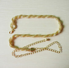 Gold Plaited Snake Ladies Waist Chain Charm Belt in Gold-One Size Fits All