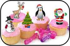30 STAND UP PREMIUM CHRISTMAS SANTA SNOWMAN MIX Edible RICE CARD Cake Toppers D1