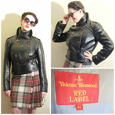 Vivienne Westwood Black Leather Red Label Motorcycle Jacket 44 Scarf Buttons