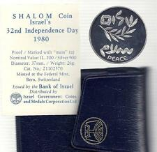 1980 32nd ANNIVERSARY ISRAEL-EGYPT PEACE PROOF SILVER COIN +COA+ CASE