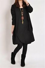 Black Women Fashion Casual Loose Turtleneck Long Sleeve Pullover Plus Dress XL