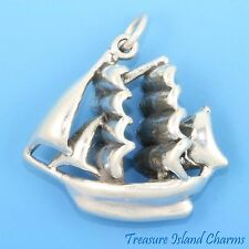 LARGE PIRATE SHIP ~ SAIL BOAT 3D .925 Solid Sterling Silver Charm SAILBOAT