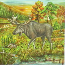 4x Single Table Party Paper Napkins for Decoupage Decopatch Moose in the Woods