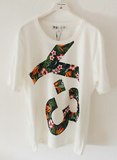New Y-3 Yohji Yamamoto M Logo Floral Men`s T-Shirt Top Cream White Size XL