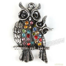 3x 142277 Charms Colorful Rhinestones Antique Silver Owl Alloy Pendant Findings