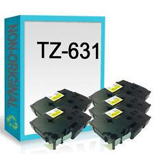 5 Compatible Label Tape TZ631 PT1005F PT1010 PT1000BTS 12mm x 8m for P Touch