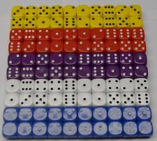 100 Six Sided Opaque Dice 5 Colours 14MM D6 Set 2