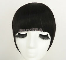 Black Dark Brown Clip In On Bang Fringe Hair Extension Fashion