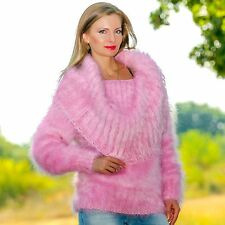 SUPERTANYA PINK Hand Knitted Mohair Sweater Fuzzy Cowlneck Fluffy Jumper by S M