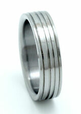 Titanium Ring With Grooves in Comfort Fit - Unisex Wedding Band - FREE Ring Box