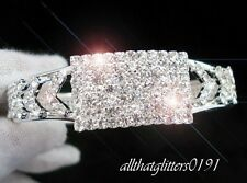 Stunning Crystal / Diamante Silver Bangle Square Design Hinged