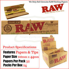 Raw Organic Hemp Connoisseur Kingsize Slim Papers & Tips - One Full New Box