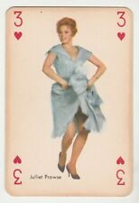 1959 MAPLE LEAF GUM JULIET PROWSE MOVIE FILM STAR 3 OF HEARTS PLAYING CARD