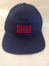 OBEY Blue Embroidered Patch  Snap Back Hat Cap