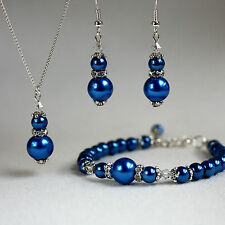 Dark blue crystal pearl necklace bracelet earrings wedding bridesmaid silver set
