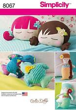 SIMPLICITY SEWING PATTERN CRAFTS STUFFED DOLL FACE PILLOW MERMAIDS & BIRDS  8067