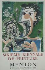 """""""PICASSO (6ème BIENNALE DE PEINTURE MENTON 1966)"""" Affiche originale entoilée"""