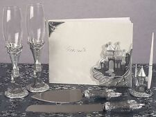 Castle Guest Book Pen Toasting Glasses Cake Knife Server Set Fairytale Wedding
