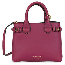 Burberry The Baby Banner Leather and House Check Tote - Brilliant Fuchsia