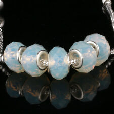 Crystal Milk white 5pcs MURANO glass bead LAMPWORK For European Charm Bracelet