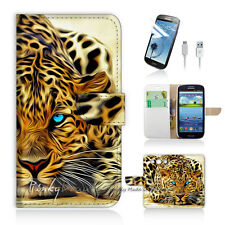 Samsung Galaxy S3 Print Flip Wallet Case Cover! Blue Eye Leopard P0354