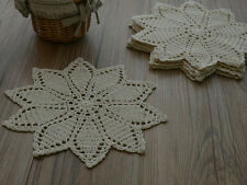 Hand Crochet Floral Doily Ecru French Country Coaster